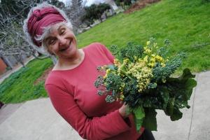 happy gardener with broc and cauliflower