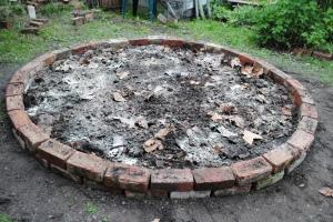 Garden bed compost lime potash
